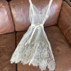 Vintage 60s White Delicate Eyelash Lace Slip Dress